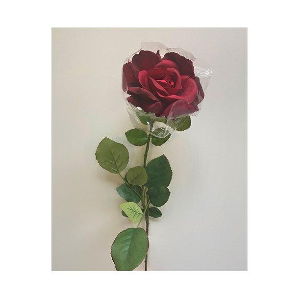 Kunstig langstilket rød rose - L: 70 cm